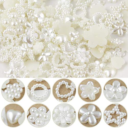 100 Stück Mixed Perlen Deko Imitation Herz Verschönerungen Tischdeko Perlen Streudeko Perlen Blumen Hochzeitsdeko Tisch Hochzeit Pelren Sternen für Hochzeit Kartenbasteln Handwerk mit 10 Größe