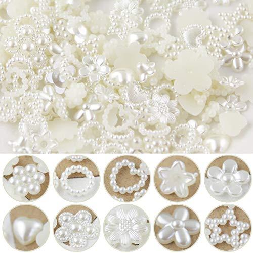 100 piezas de perlas mezcladas para decoración de corazones, adornos, decoración de mesa, perlas, flores, decoración de boda, mesa, pelos, estrellas, para bodas, manualidades, artesanía con 10 tamaños