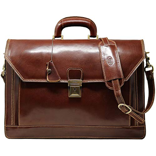Floto Venezia Vecchio Brown Briefcase Attache Lap-top Case