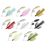 Goture Bass Fishing Lures Spinner Baits Kit Jigs for Bass Fishing Bladed Chatterbait Micro Bass Buzz Blade Bait Rooster Tail Pike Trout jigs Kits Weedless Spinnerbait Salmon Freshwater (1/2 3/8oz)