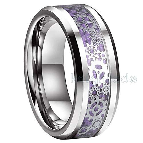 LIDAYE Anillo de carburo de tungsteno de 8 mm Rueda de Engranaje mecánico/Incrustación de Fibra de Carbono púrpura Hombres Mujeres Amantes Anillo de Bodas Bordes biselados Confort 9.5 Púrpura