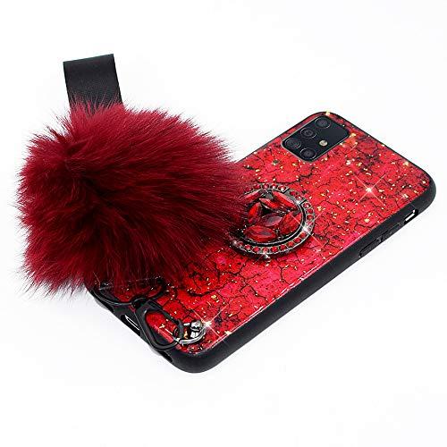 Hpory - Funda para Samsung Galaxy A51, diseño de purpurina, silicona TPU + PC duro, funda protectora para niñas y mujeres, con anillo de soporte, correa de mano, bola de peluche, color rojo