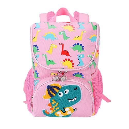 Kinderrucksack, Japoece Light Dinosaurier Vorschule Kindergartenrucksäcke Kleinkind Alter 2-5 Kind Jungen Mädchen wasserdicht langlebig Schultasche (Pink)