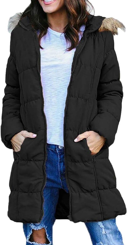 Desolateness Women's Winter Faux Fur Hooded Parka Puffer Jacket with Pocket Overcoat