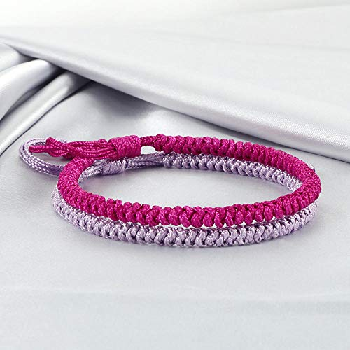 Jewellery Bracelets Bangle For Womens 2Pcs Multicolor Buddhist Bracelets Good Lucky Charm Braided Bracelet & Bangle For Women Men Handmade Knots Rope Jewelry-Fuchsia_Purple_China