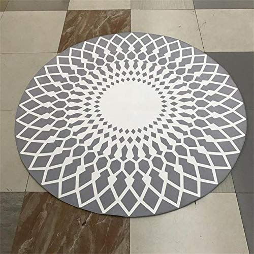 Youuzha Ronde tapijten van polyester, creatief, voor woonkamer/computerstoel, kindertent, voetmat, yogamat, kort 160cm Diameter Lichtgrijs