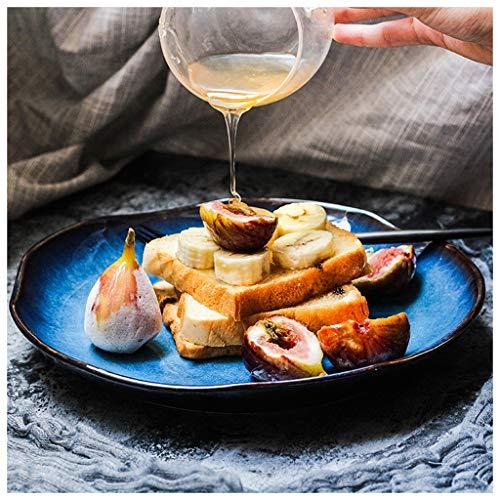 MJHSP Ceramics Western Food Plate Household Flat Plate Dessert Plate Irregular Plate Dinner Plate Cat