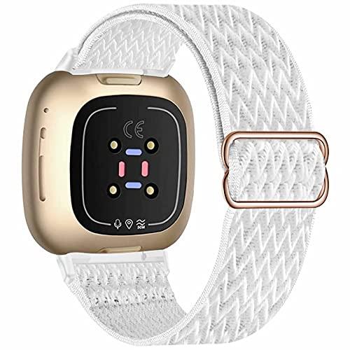 Fengyiyuda Correa Compatible con correa Fitbit Versa 3/correa Fitbit Sense,correas de repuesto de nailon tejido transpirable Compatible con Fitbit Sense / Versa 3 para mujeres y hombres,White