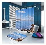 KnSam Duschvorhänge Aus Polyester Duschvorhang Und Bodenmatte Set Weiße Beige Blaue Kreise Duschvorhang Breit: 150Cm Höhe: 200Cm Weißes Beige Blau