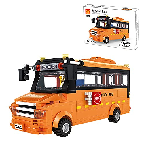 Kit De Construcción De La Serie De Autobuses De La Ciudad; Bloques De Construcción De Juguetes De Autobuses Simulados Para 6 Años De Edad, Regalos De Cumpleaños Para Niños, Nuevo 2021,Naranja