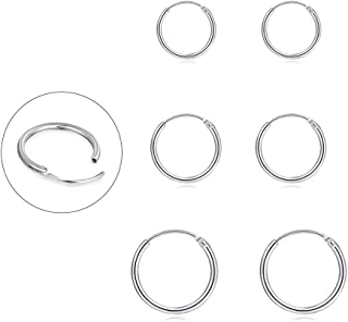 Silver Hoop Earrings for Women Men Girls- Cartilage Earring Endless Small Hoop Earrings Set,3 Pairs of Hypoallergenic 925 ...
