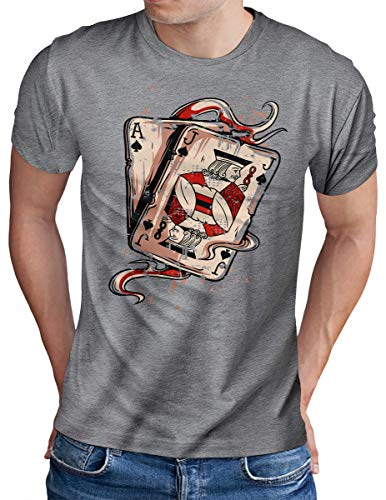 OM3® Deck of Playing Cards T-Shirt | Herren | Welcome to Fabulous Las Vegas | Grau Meliert, 4XL