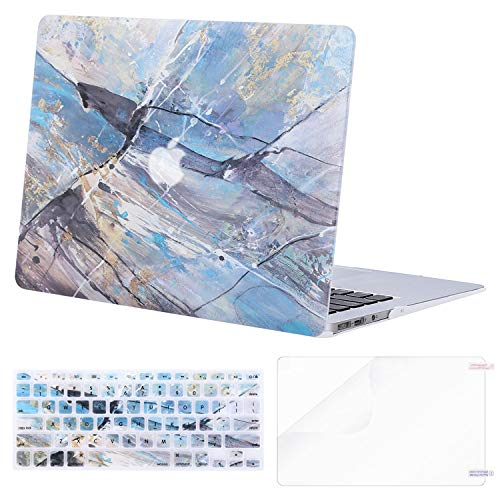 MOSISO MacBook Air 13 inch Case (A1369 & A1466, Older Version 2010-2017 Release), Plastic Pattern Hard Case&Keyboard Cover&Screen Protector Only Compatible with MacBook Air 13, Abstract Scrawl Blue