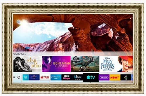 Framed Mirror TV with Samsung 50 inch 4K Ultra HD HDR Smart LED TV TVPlus. Gold Leaf Frame