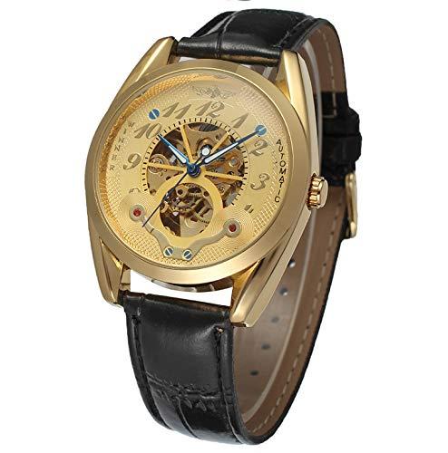 GSERA Reloj Reloj Hombre De Negocios Reloj Hueco De Acero Inoxidable Reloj Clásico De Negocios con Correa