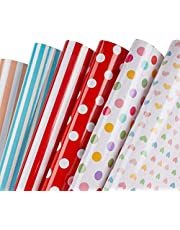 Zattcas Gift Wrapping Paper Roll Cute Animal Design Kids Girls Boys Wrapping Paper with Gift Wrap Ribbon for Birthday Party Baby Shower Dot and Stripe Wrapping Paper Set Gift Wrap