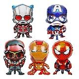 Yanqhua Globo 5 unids/Set Dibujos Animados de Globo de Aluminio Iron Man Spiderman Ant Hombre Decoración de cumpleaños para niños Suministros (Color : 5pcs)