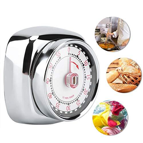 Temporizador de cocina, manual, mecánico, recordatorio de tiempo, de acero inoxidable, con base magnética para cocinar