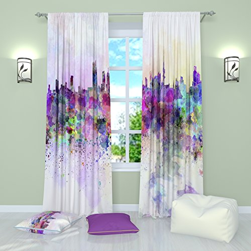 Factory4me Art Curtains Collection Watercolor City. Window Curtain Set of 2 Panels Each W42 x L84 inches Total W84 x L84 inches Bedroom, Living Room