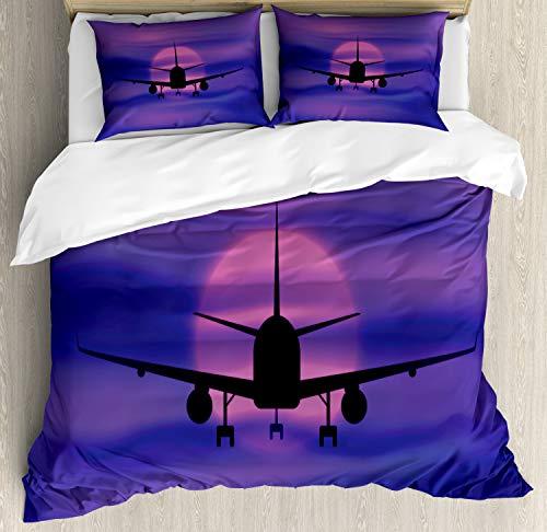 Ambesonne - Juego de funda de edredón y 2 fundas de almohada para cama de matrimonio, diseño de avión, color azul y rosa
