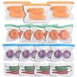 Bolsas Reutilizables PEVA 15 Pack, KEEHOM Bolsa Congelación con Cremallera sin BPA para Almacenamiento de Alimentos, Bolsas de Conservación, para Fruta Sándwich Verdura, Viaje y Organización de Cocina