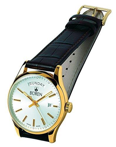 BÜREN 301025–Armbanduhr Herren, Lederband braun