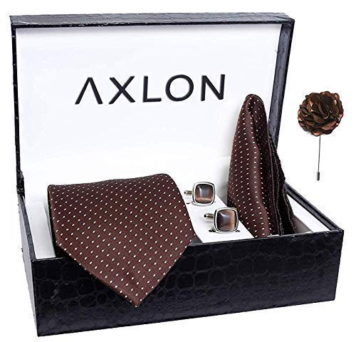 Axlon Men's Polyester Necktie Pocket Square Set, Lapel Pin and Cufflinks (Free Size, Brown)