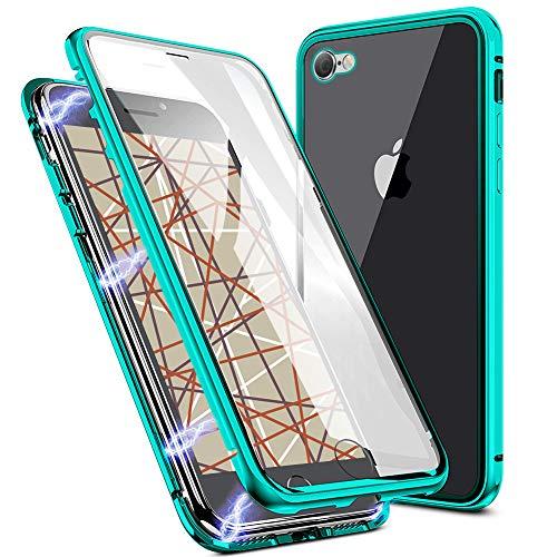 EATCYE Kompatible mit iPhone SE 2020/iPhone 8/7 Hülle, Magnetische Adsorption Metallrahmen Hülle 360 Grad Komplettschutz mit Doppelseitig Gehärtetes Glas Transparente Displayschutzfolie (Grün)
