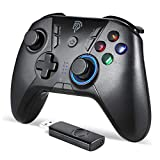 Manette PC/PS3 sans Fil Rechargeable, 9110 2.4G Manette PC Connectée par USB, Manette PS3 avec Dualshock et Turbo, Compatible pour PC, PS3 et Nitendo Switch (Noir)