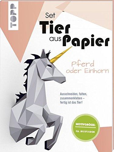 Tier aus Papier (Bastel-Set) - Pferd oder Einhorn: Ausschneiden, falten, zusammenkleben - fertig ist das Tier!