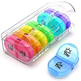 AUVON Pill Box 2 Times a Day, Weekly Pill Organizer AM PM with 7 Daily Pocket Case to Hold Vitamin, Medicine, Medication, and Supplement