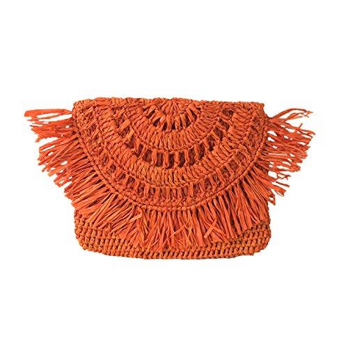 Mar Y Sol Mia Crochet Raffia Fringe Clutch, Mango