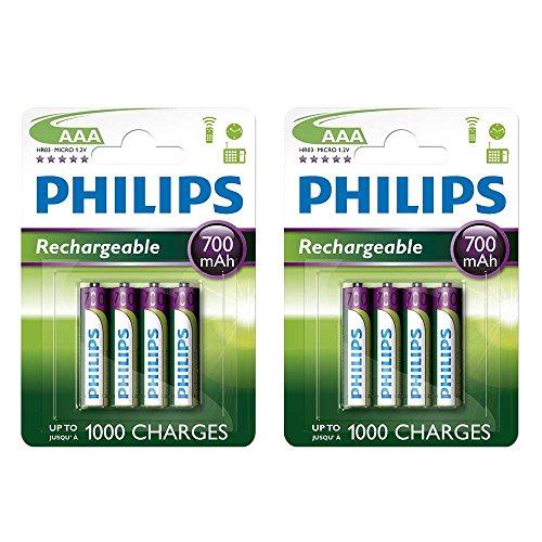 Philips Lot de 8 piles rechargeables AAA 700 mAh 1,2 V