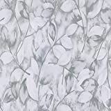 """17.7""""x 118"""" Leaf Wallpaper Grey Leaf Peel and Stick Wallpaper Self-Adhesive Removable Contact Paper Grey Nature Wallpaper Decorative for Wall Covering Drawer Shelf LinerVinylFilm"""