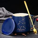 Tazas de té de café 12 constelaciones tazas de avena de leche de desayuno taza de agua de cerámica taza con tapa y cuchara Acuario