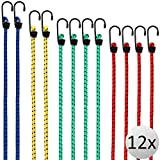 DEUBA 12x Bungee Cords Lashing Straps Expander Luggage Strap Elastic Durable Metal Hooks Assorted Combinable Weather-resistant