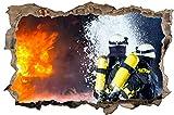Feuerwehr Feuer löschen Wandtattoo Wandsticker Wandaufkleber D1125 Größe 40 cm x 60 cm