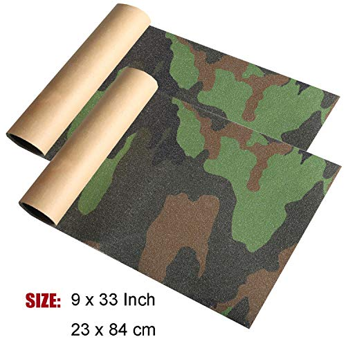 "ZUEXT 9"" x 33"" Camo Skateboard Grip Tape Sheets 2 Pack, Bubble Free Waterproof Green Camouflage Scooter Grip Tape, Longboard Griptape, Sandpaper for Rollerboard Stairs Pedal Wheelchair Steps(84x23cm)"