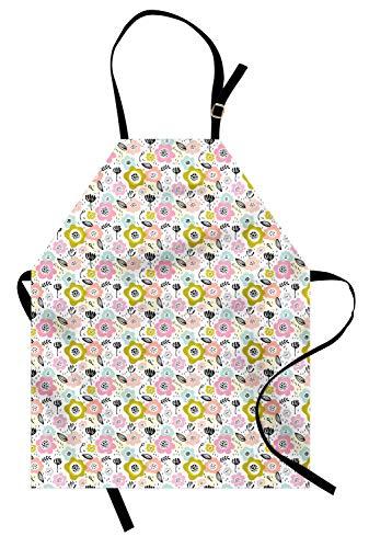 ABAKUHAUS Floral Tablier, Feuillues Pinceau Design Dashes, Produit Unisexe avec Col Réglable pour Cuisine et Jardinage, Multicolore