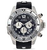 KYBOE! Reloj de cuarzo de acero inoxidable y silicona (modelo: Cronos plata noche)