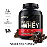 Optimum Nutrition Gold Standard 100% Whey Protéine en Poudre avec Whey Isolate, Proteines Musculation Prise de Masse, Double-Rich Chocolat, 74 portions, 2.27 kg
