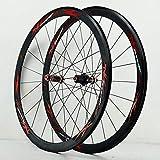 Zatnec Ciclismo Ruedas Fibra Carbon 700C Juego Ruedas De Bicicleta Carretera Tirador Recto Ciclismo 40mm Mate Llanta Aleación Freno C/V 7-11 Velocidades Liberación Rápida (Color : Black Hub Red Logo)