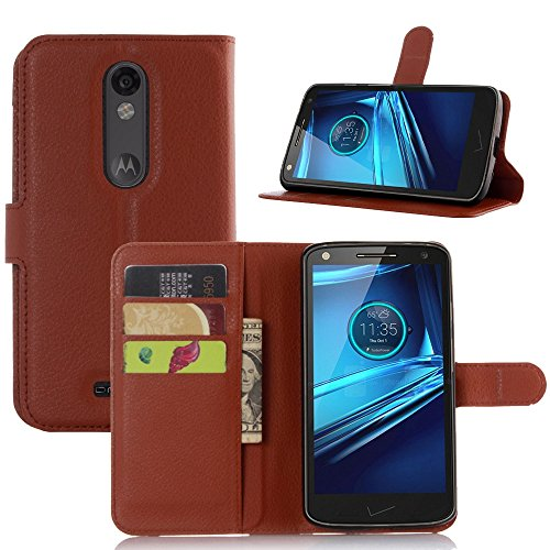 Ycloud Tasche für Motorola Moto Droid Turbo 2 Hülle, PU Ledertasche Flip Cover Wallet Hülle Handyhülle mit Stand Function Credit Card Slots Bookstyle Purse Design braun
