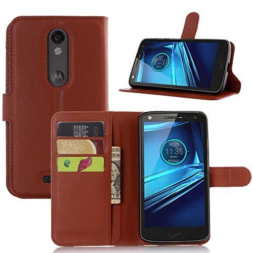 Ycloud Tasche für Motorola Moto Droid Turbo 2 Hülle, PU Ledertasche Flip Cover Wallet Case Handyhülle mit Stand Function Credit Card Slots Bookstyle Purse Design braun