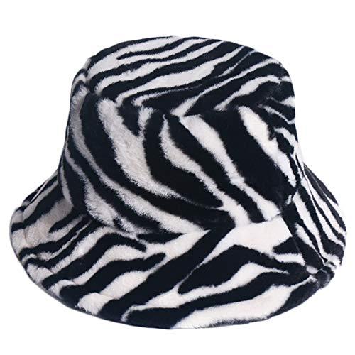 wenjuersty Fischerhut, Unisex, Zebramuster, dick, flauschig, Plüsch, warm, für den Winter