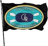 Oaqueen Banderas, Colorado Rafting Kayak Logo Decorative Bandera del Jardin, Outdoor Artificial Flag for Home, Garden Yard Decorations 3x5 Ft