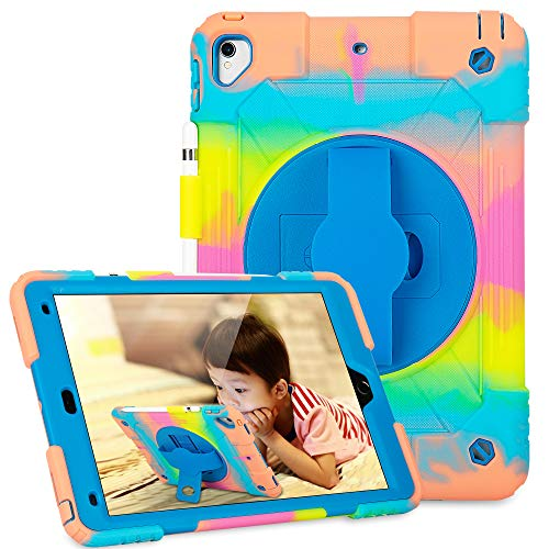 iPad Pro 10.5/iPad Air 10.5 Case with Pencil Holder and 360 Rotate Stand/Hand Strap,Shockproof Protective Case for Kids for iPad Air 3 10.5' 2019/iPad Pro 10.5' 2017-Ice/Blue