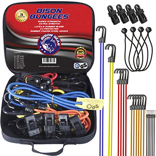 Bison Gear 28PC Premium Bungee Cord Assortment Including...