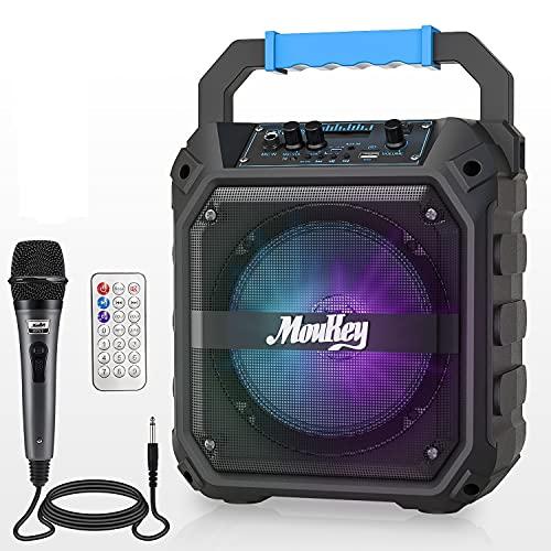 Altavoces Karaoke Moukey Sistema de Audio Altavoz PA Bluetooth Inalámbrica Portátil Recargable 6, 5 Pulgadas Incluye Micrófono con Cable,  Luces de DJ,  Capacidad de Grabación,  Radio TF Card/USB/FM