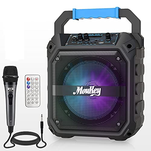 Altavoces Karaoke Moukey Sistema de Audio Altavoz PA Bluetooth Inalámbrica Portátil Recargable 6,5 Pulgadas Incluye Micrófono con Cable, Luces de DJ, Capacidad de Grabación, Radio TF Card/USB/FM